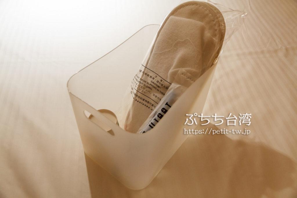 ブティシティカプセルイン台北のスリッパ・歯ブラシ・コップ