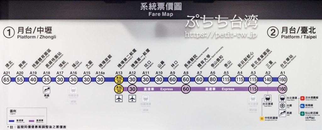 桃園空港MRTの路線図