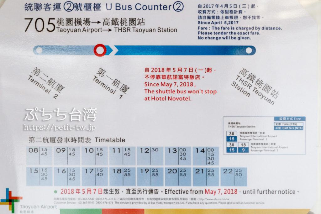 「桃園国際空港」と「高鐵桃園站」を結ぶ台湾高速鉄道シャトルバス(統聯客運705バス)の時刻表