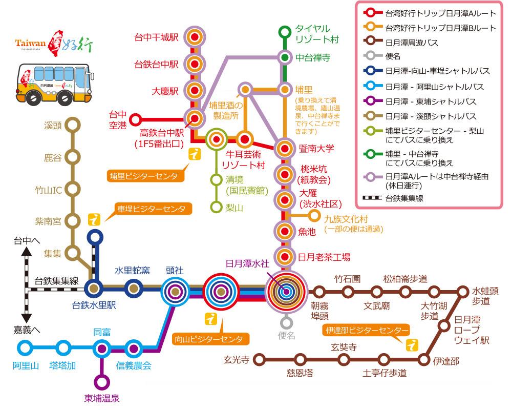 台中ー日月潭のバス路線図