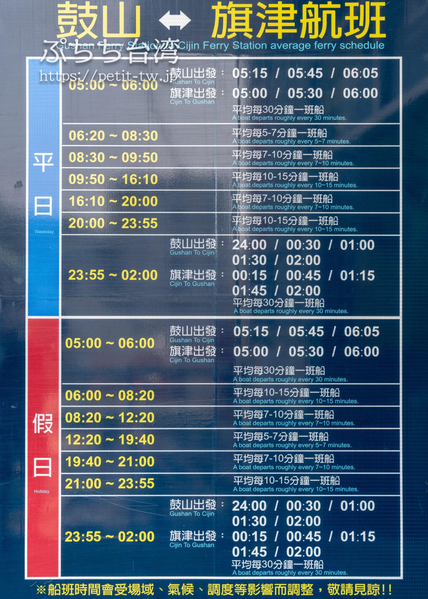 高雄 旗津島行きフェリーの時刻表