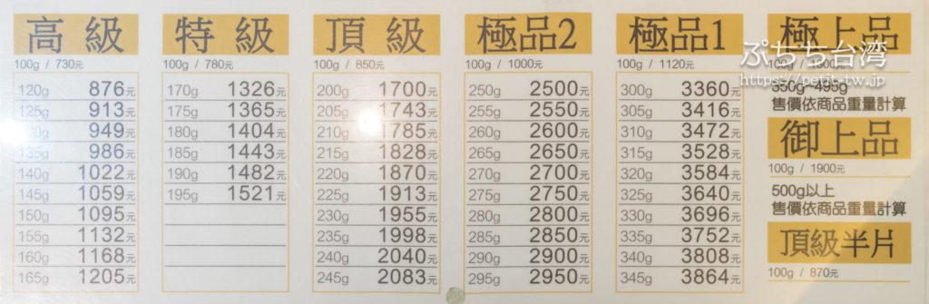 吉利號烏魚子の値段表