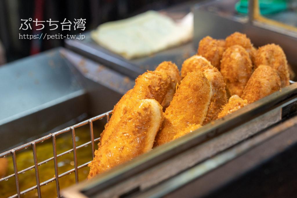 基隆廟口夜市の天盛舗営養三明治の揚げパン