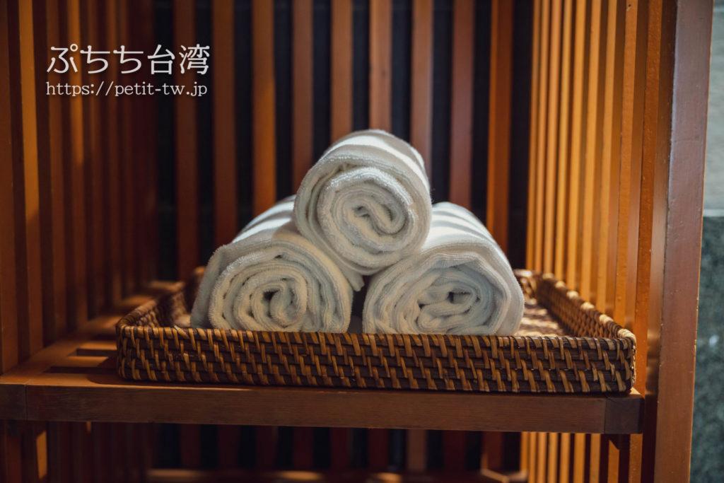 ザガイアホテル(大地酒店)の日帰り温泉施設の貸切個室風呂のタオル
