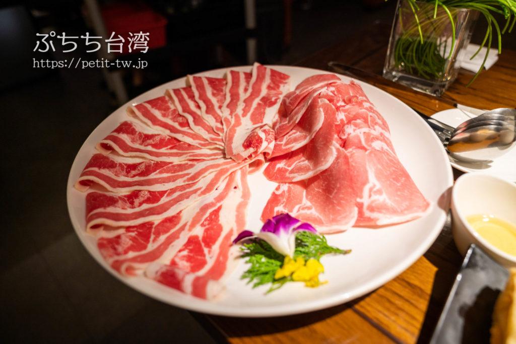 無老鍋の具材の豚肉と牛肉