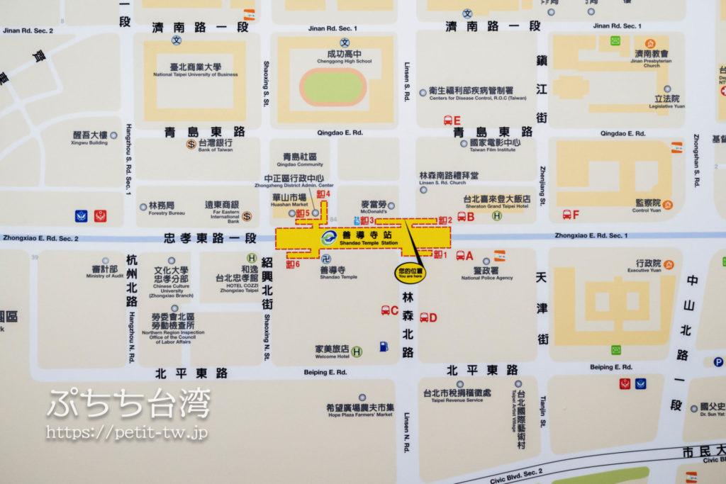 台北 善導寺駅のマップ