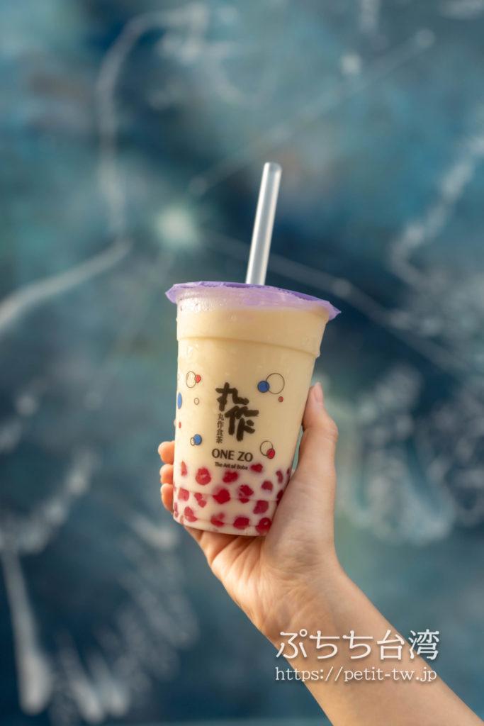 丸作食茶(ワンズオスーチャ、ONE ZO)のサボテンんタピオカミルクティー