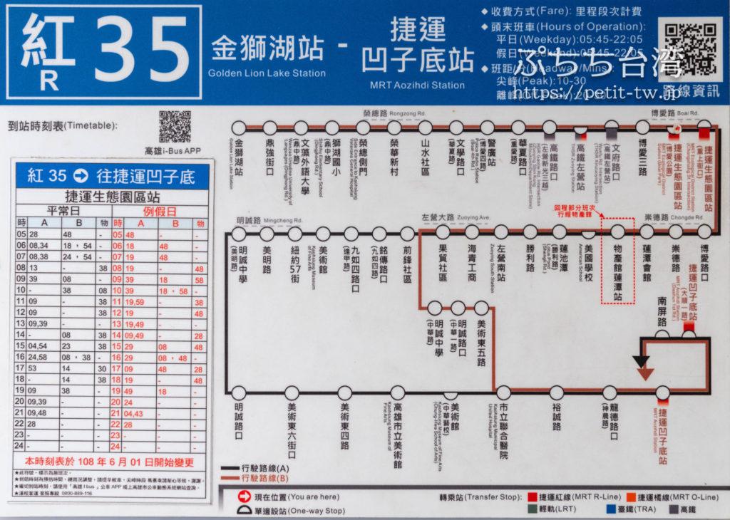 MRT生態園區駅のバス案内、時刻表、停留所ルートマップ