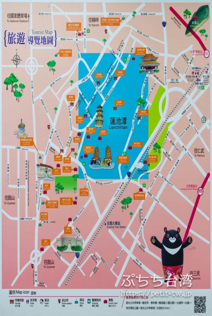 蓮池潭風景区の観光ルートマップ