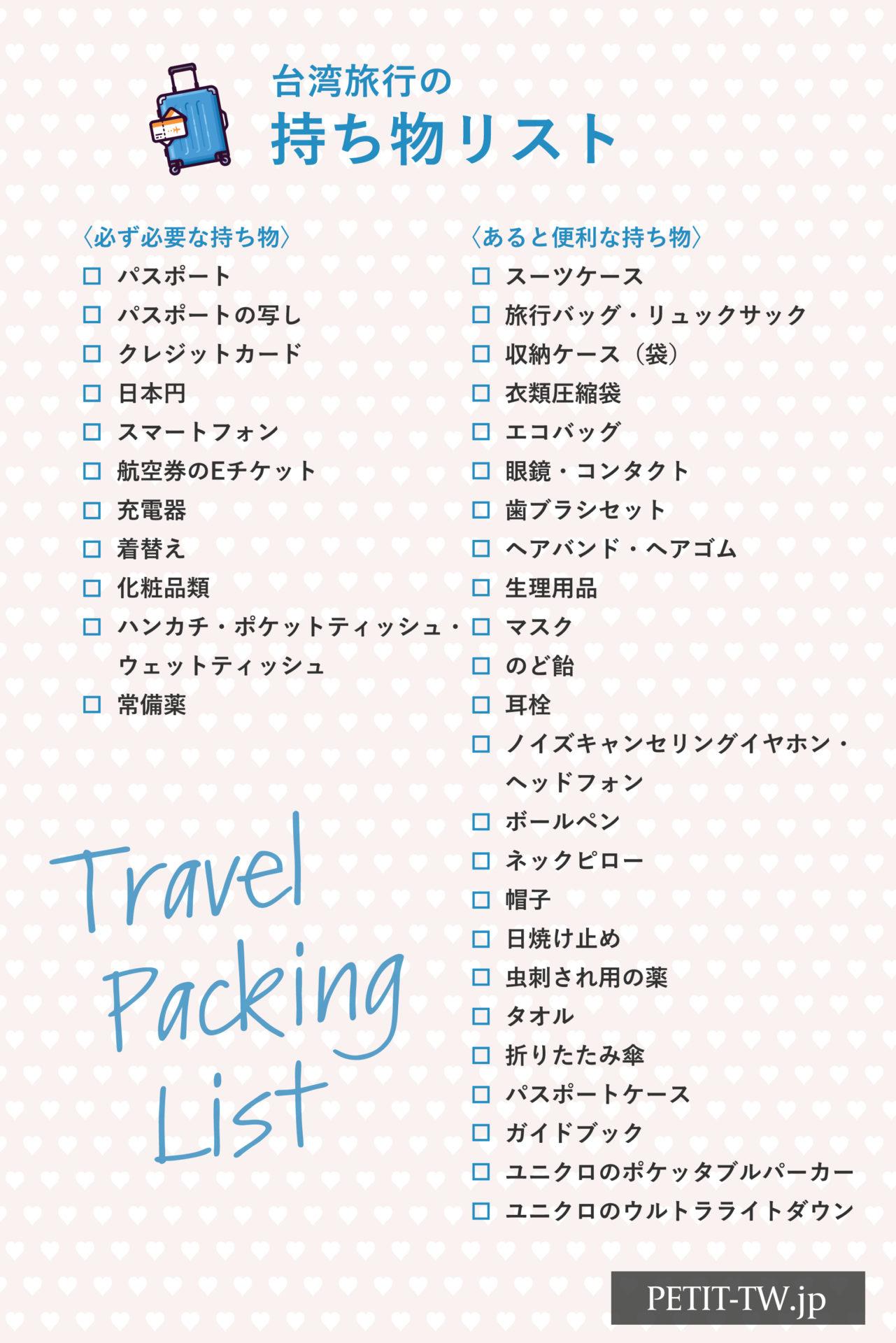 台湾旅行の持ち物リスト・荷物のパッキングリスト
